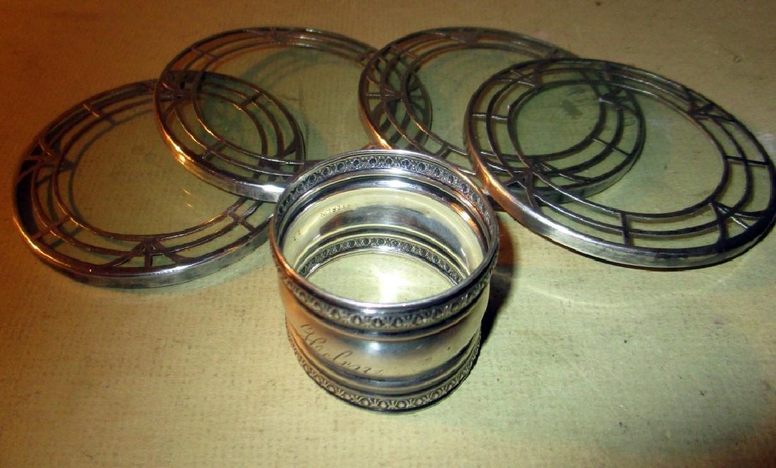 lLot of 4 Sterllng Overlay Coasters & Napkin RIng