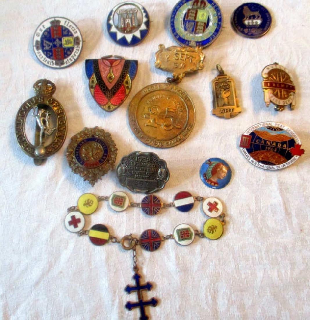 Lot of Thirteen Organization Pins & Bracelet