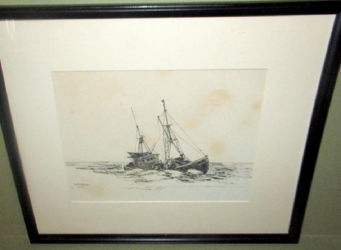 Pen & Ink Drawing of Sinking Fishing Boat