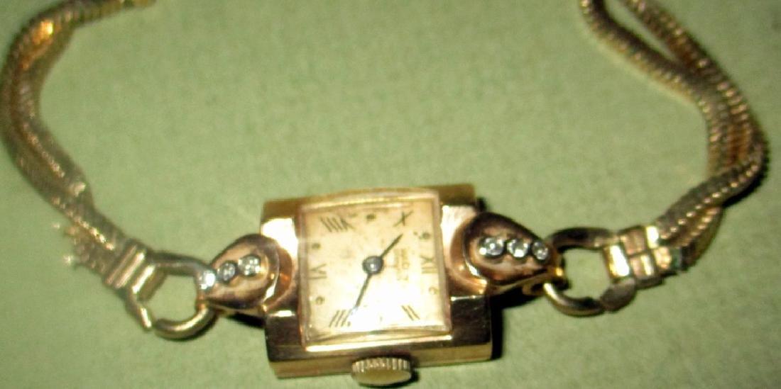 Lady's 14K Gold Cocktail Watch w/ Diamond