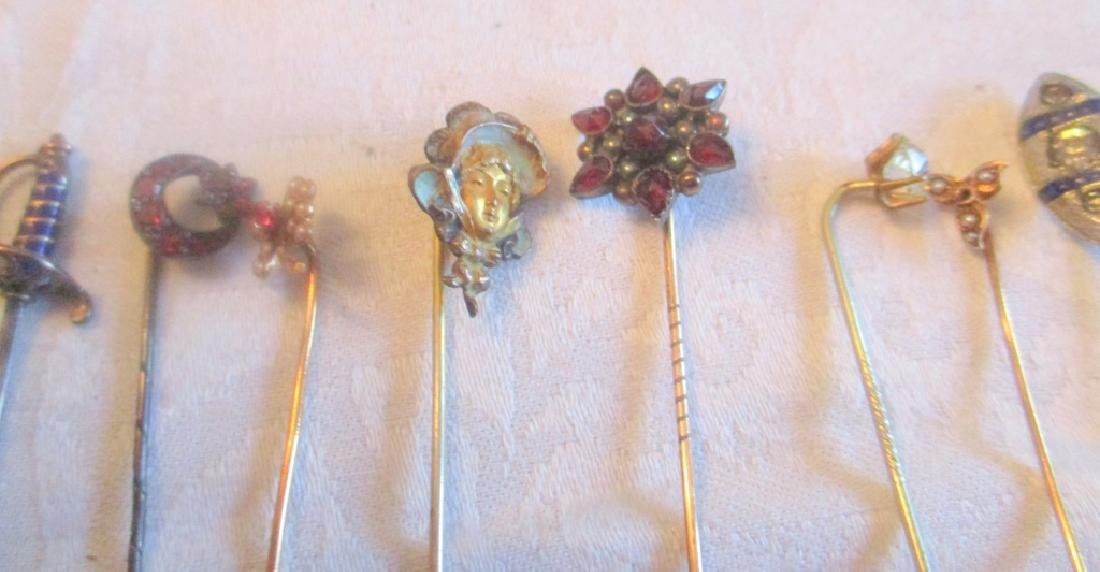 Lot of Vintage Tie Pins Set With Stones - 2