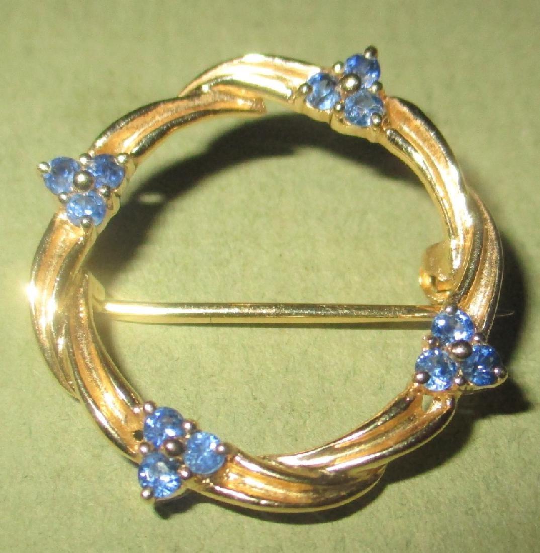 14K Yellow Gold & Sapphire Circle Pin