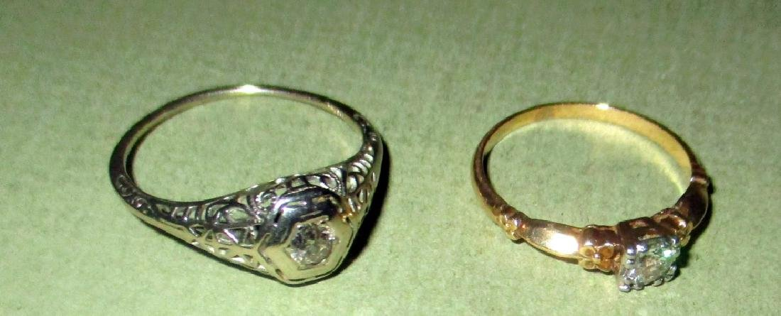 Two Gold Lady's Diamond Rings