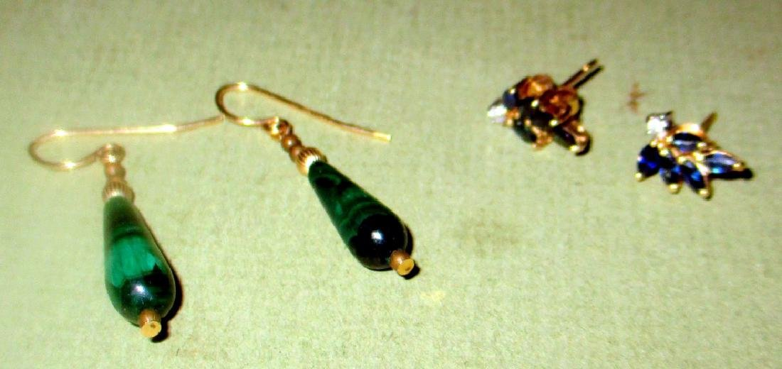 Two Pair of 14K Gold Earrings Set With Stone
