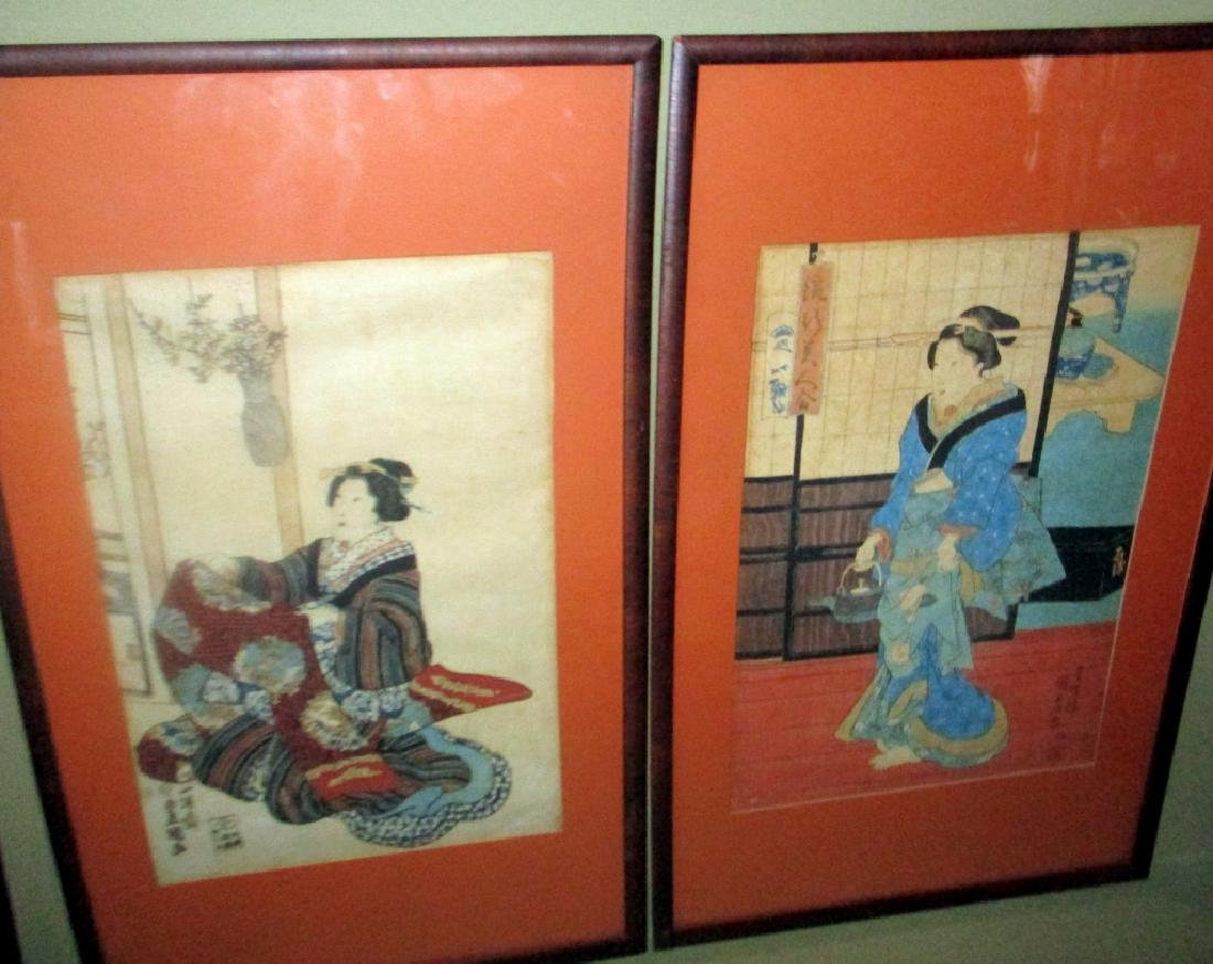 Pair of Japanese Block Prints Possibly Kunisada