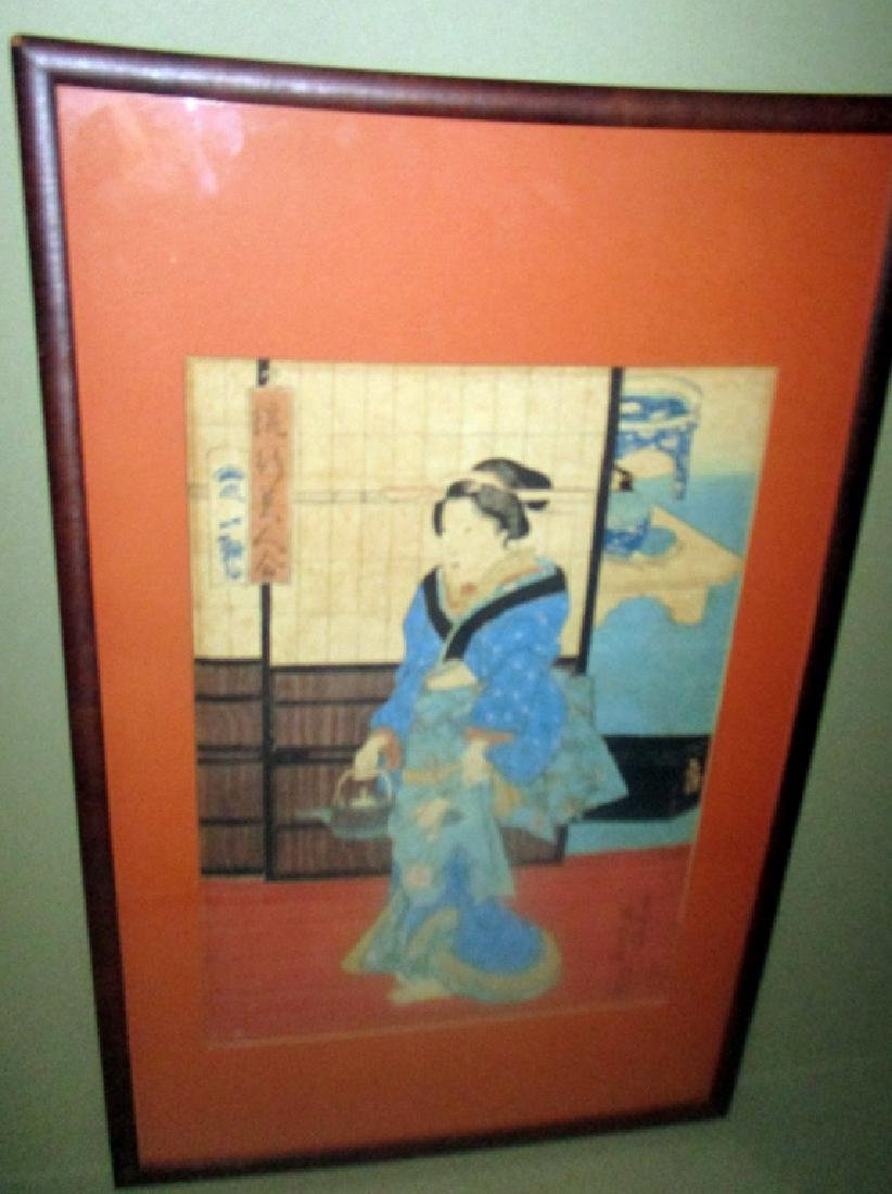 Pair of Japanese Block Prints Possibly Kunisada - 2