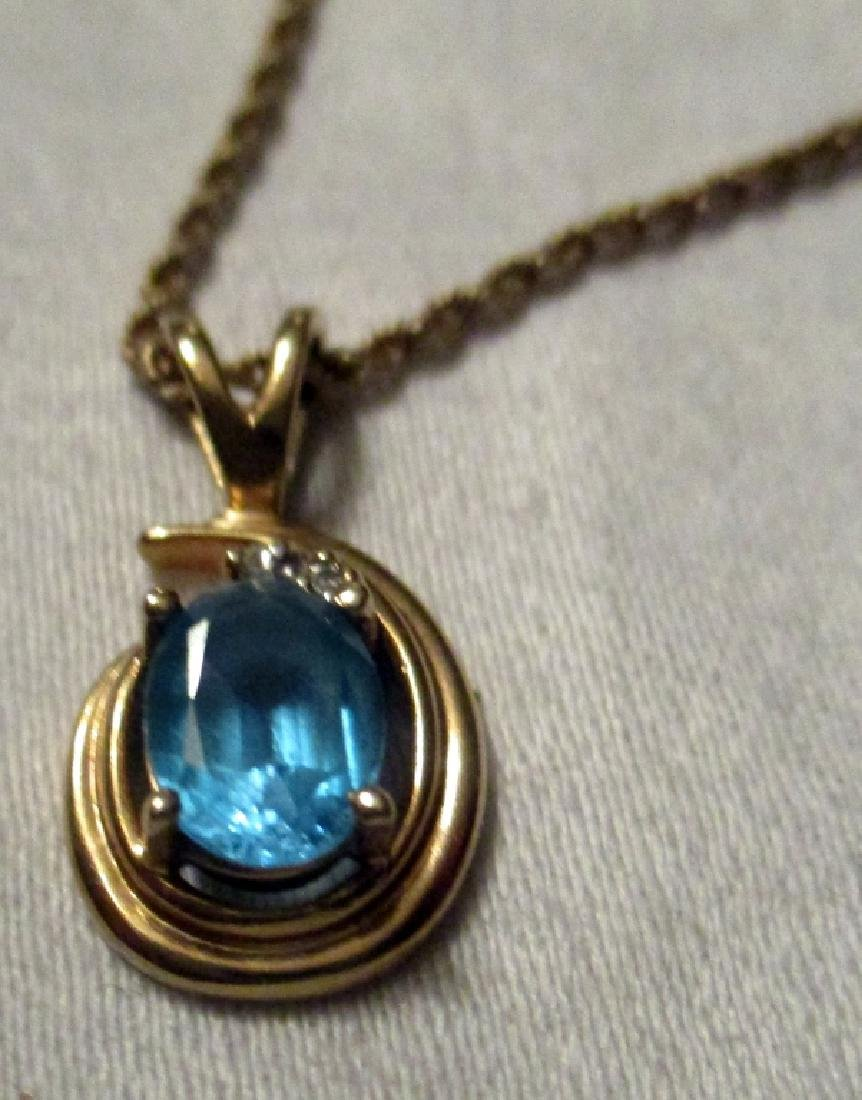 Blue Topaz on a 14K Gold Rope Chain