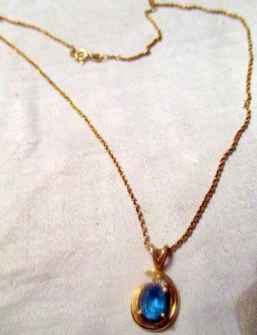 Blue Topaz on a 14K Gold Rope Chain - 2