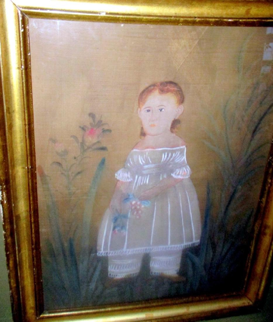 Primitive Style Painting of Small Girl - 2
