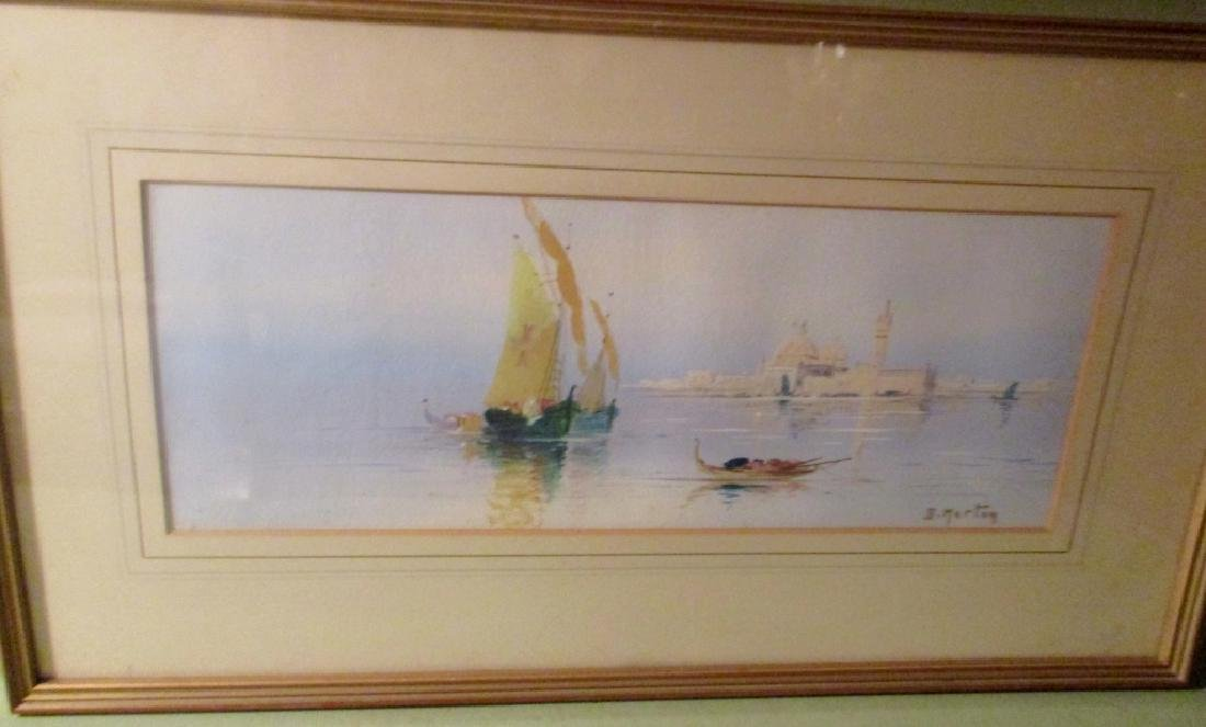 Watercolor Painting of Boats in Venice by Merton