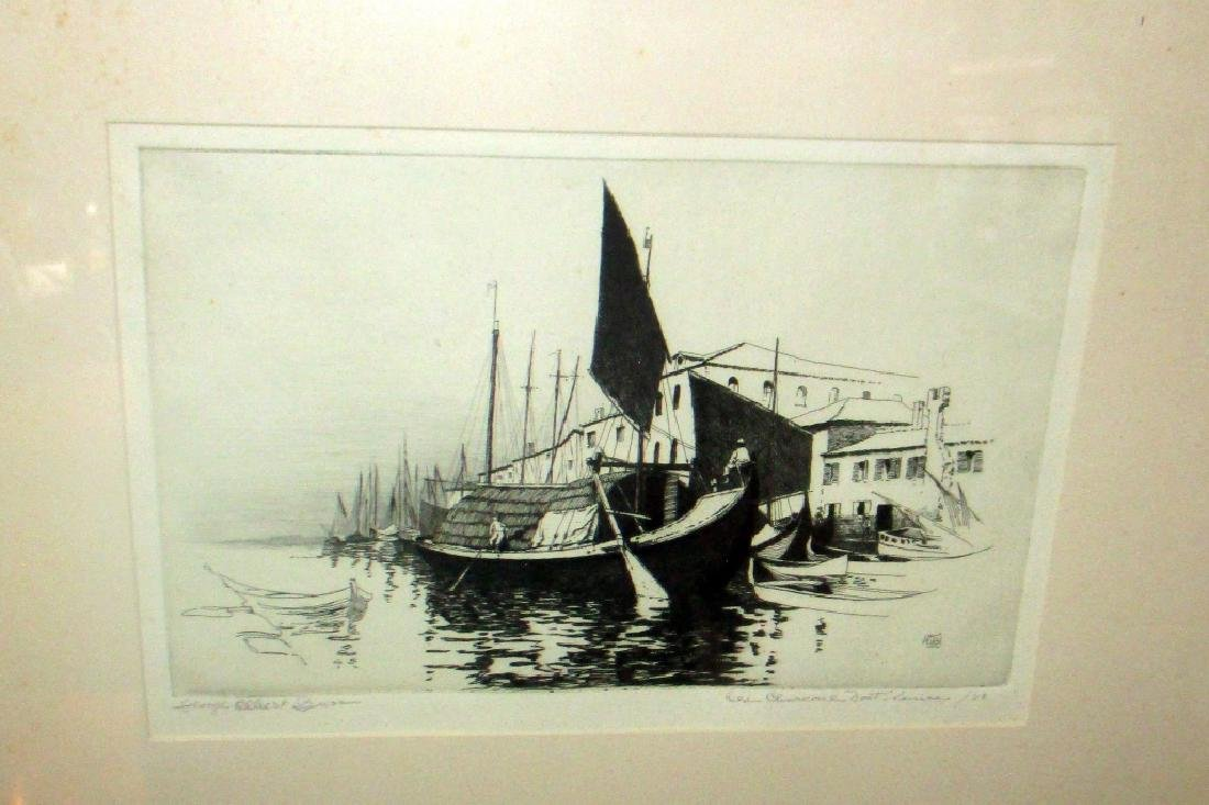 Etching of Boats in Venice by George E. Burr