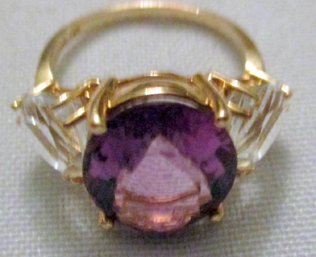 14K Yellow Gold Lady's Ring with Amethyst - 2
