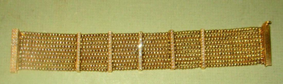 Lady's 14K Gold Bracelet Set w/  Diamonds & Pearls