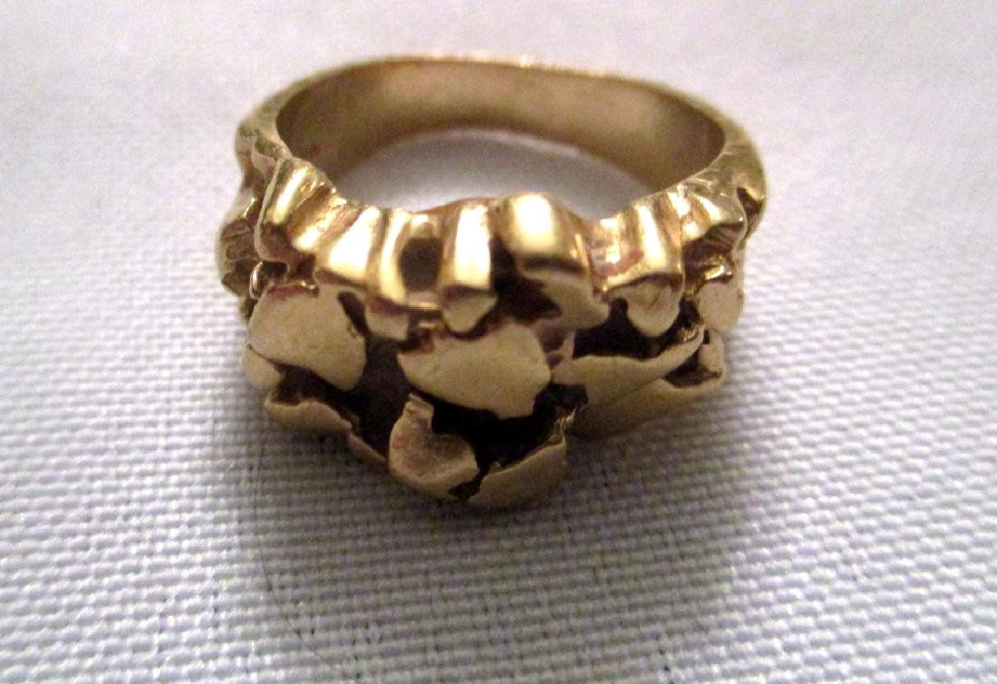 Man's 14K Yellow Gold Nugget RIng