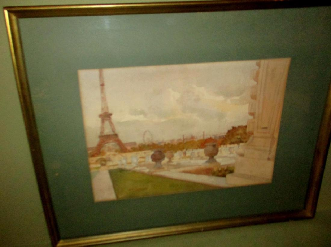 Early 20th Century Watercolor of Paris France