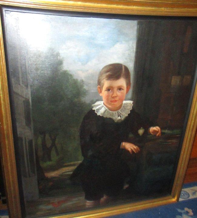 Large 19th C. Portrait of Victorian Boy