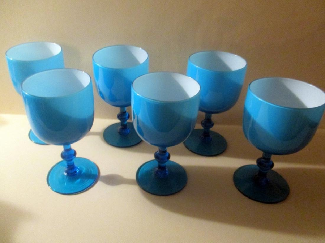 Set of 6 Cased Glass Goblets