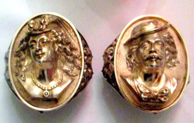 Rare Pair of Sterling Portrait Napkin Rings