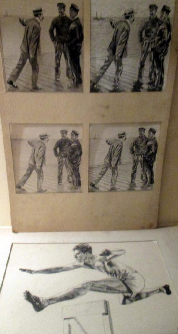 Lot of 5 Pen and Ink and Wash Drawings