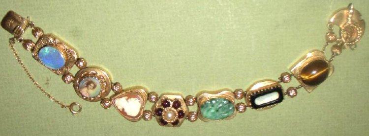 Victorian 14K Gold Slide Chain Bracelet