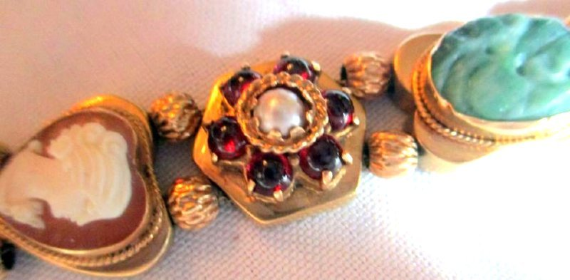 Victorian 14K Gold Slide Chain Bracelet - 3