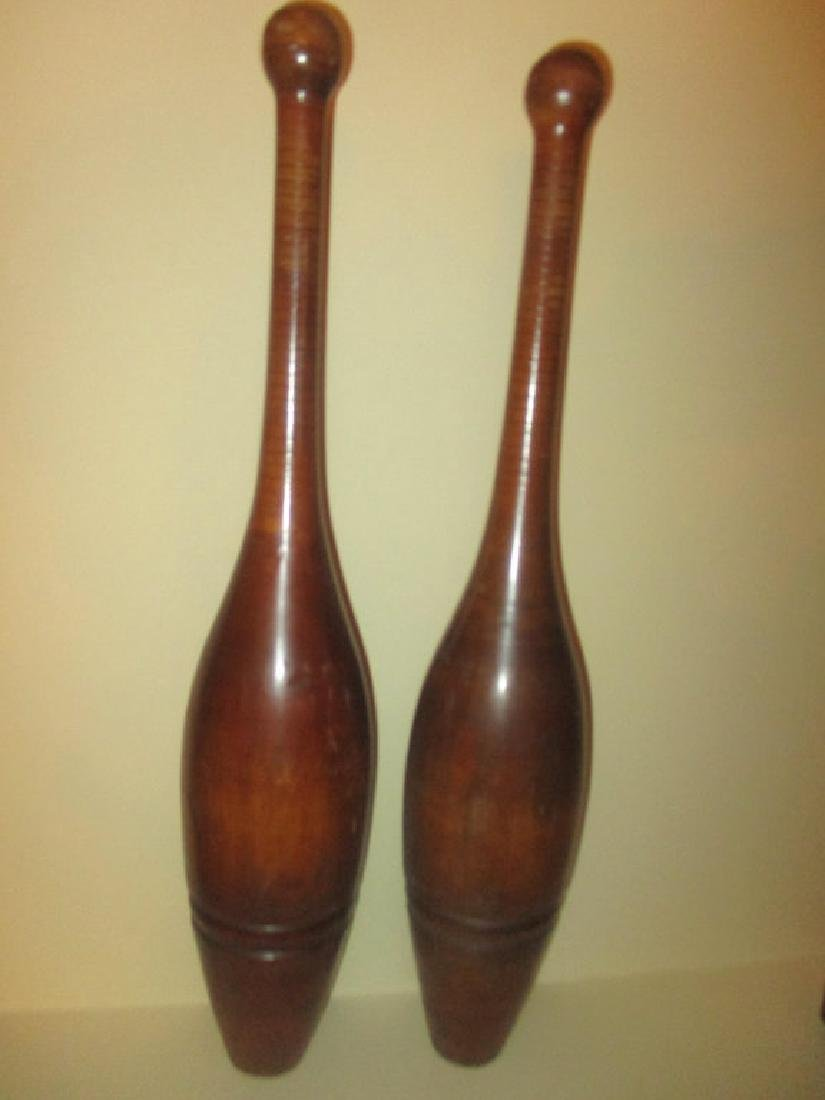 Pair of Wooden Exercising Clubs