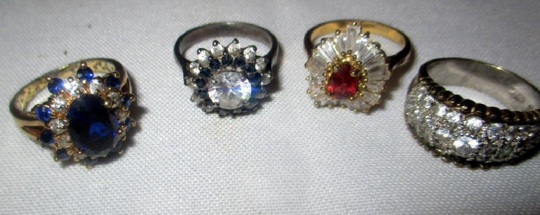 Lot of Four Sterling Cocktail Rings
