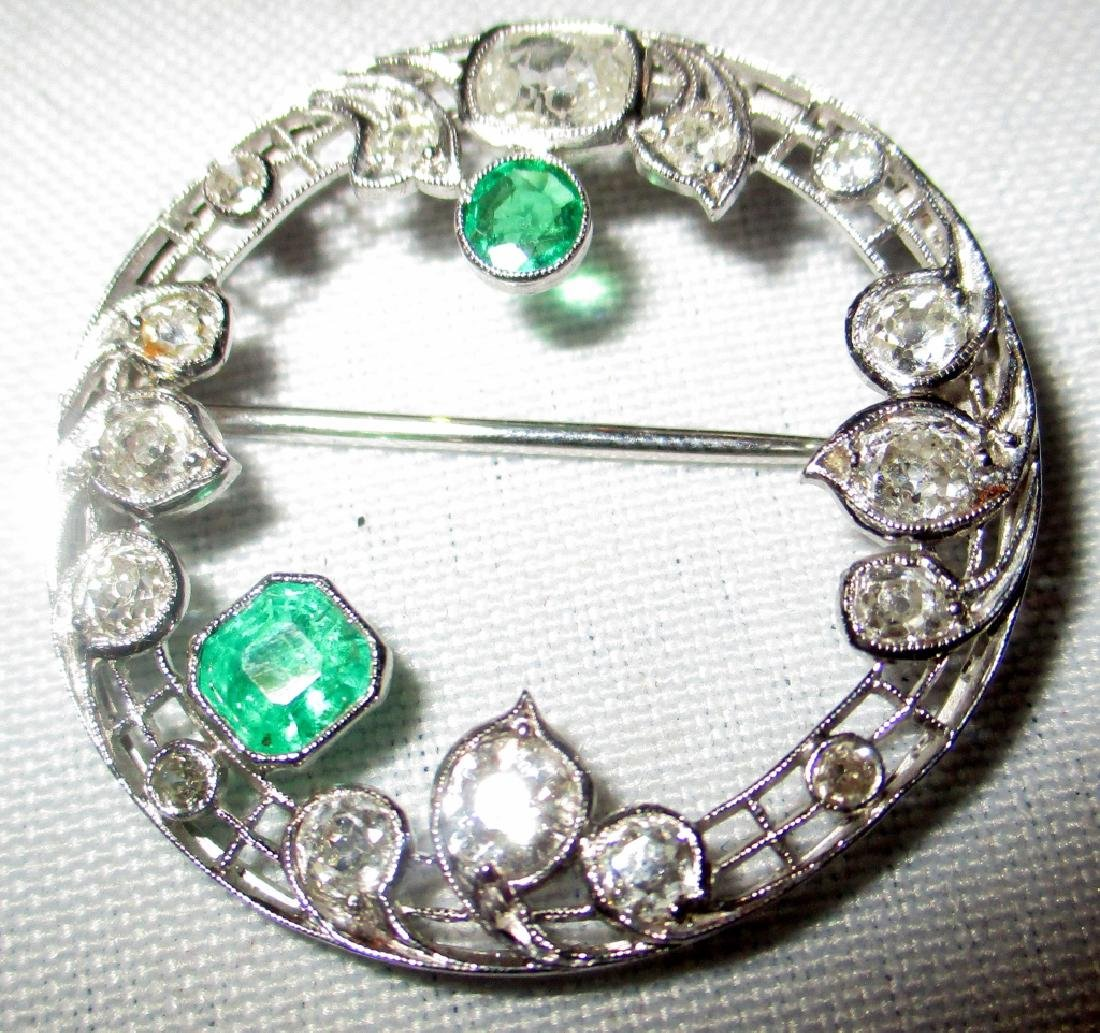 Platinum Diamond & Emerald Brooch