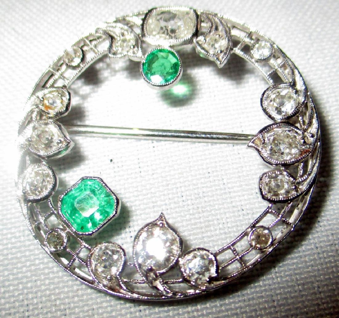 Platinum Diamond & Emerald Brooch