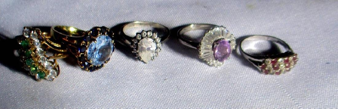 Five Sterling Cocktail Rings