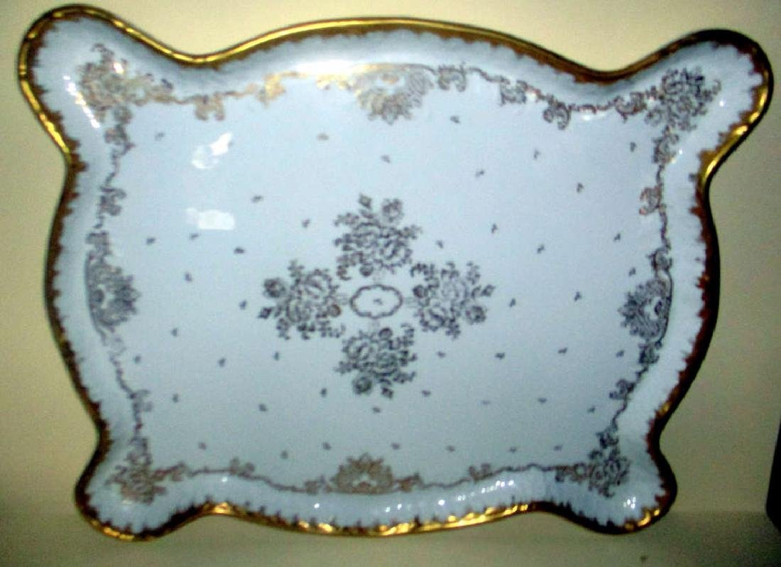 Large French Porcelain Hand Decorated Tray