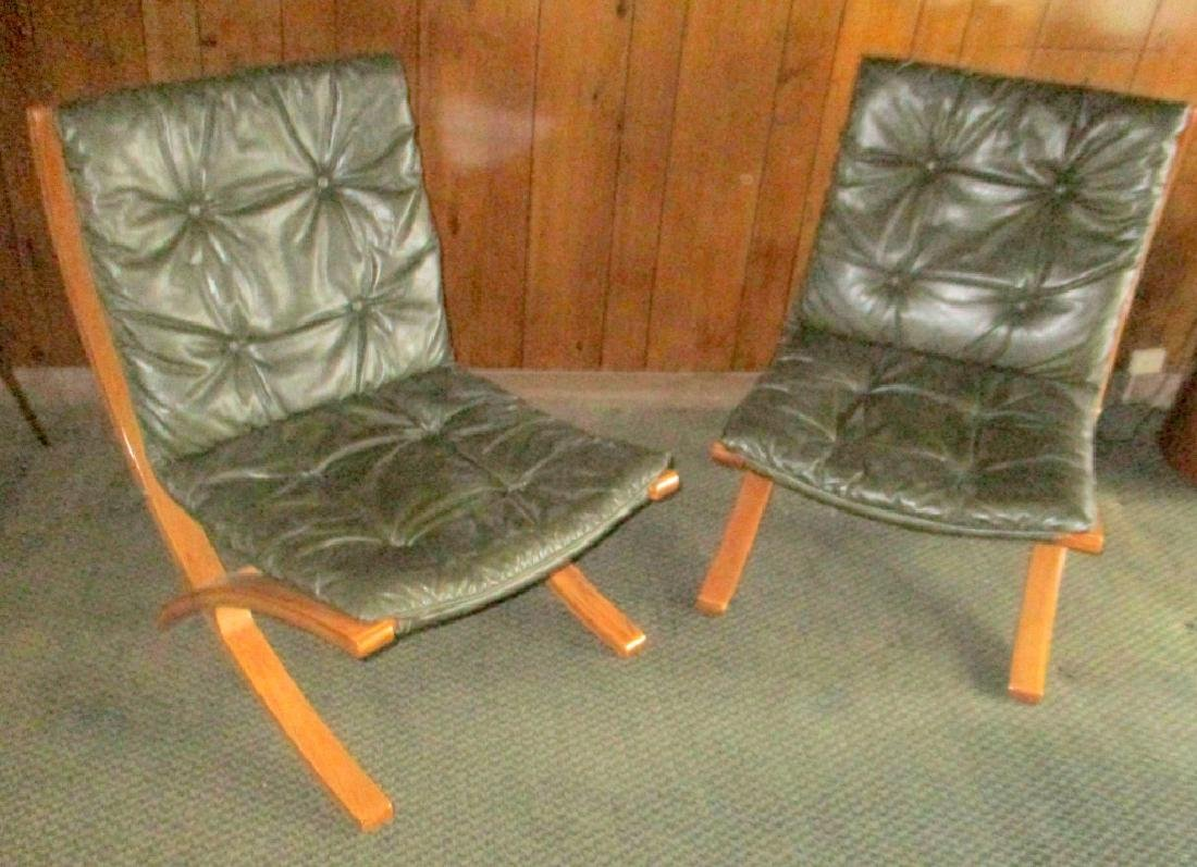 Pair of Plycraft Chairs w/ Leather Cushions