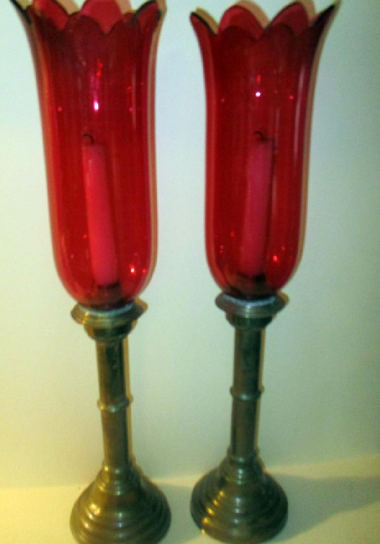 Pair of Hurricane Lamp with Cranberry Glass Shade