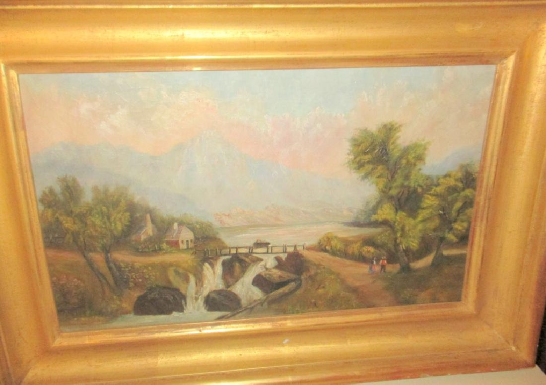Primitive Oil Painting on Canvas of Landscape