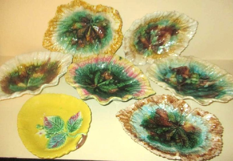 Collection of Antique Majolica Leaf Plates