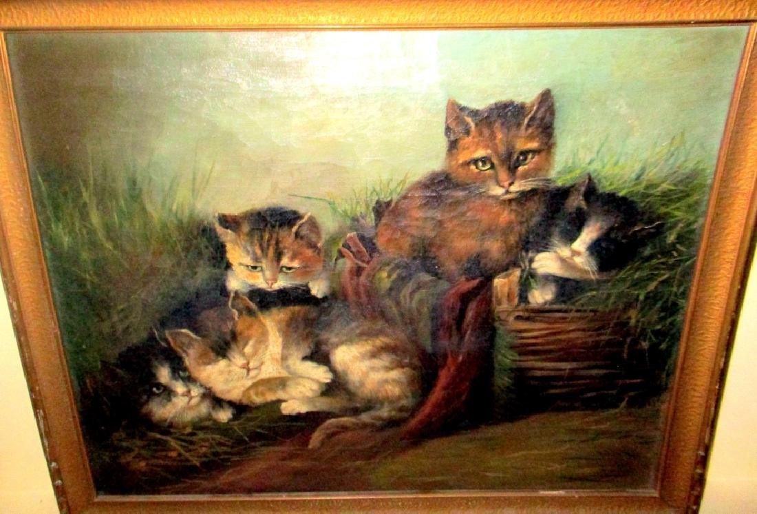 19th C. Oil on Canvas of Kittens Playing