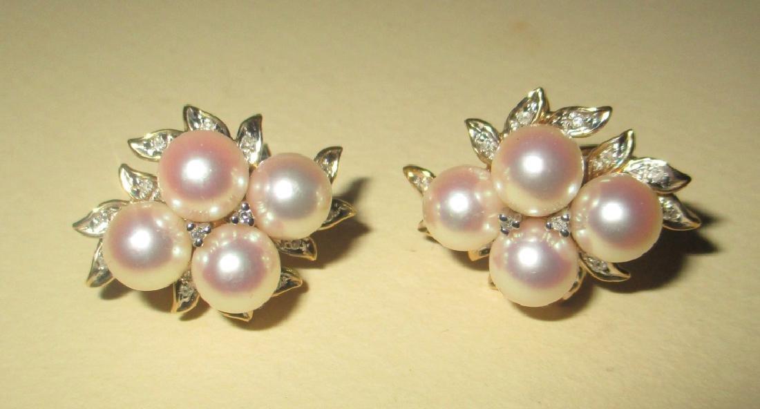 Pr. of Elegant 14K G. Earrings w/ Pearls& Diamonds