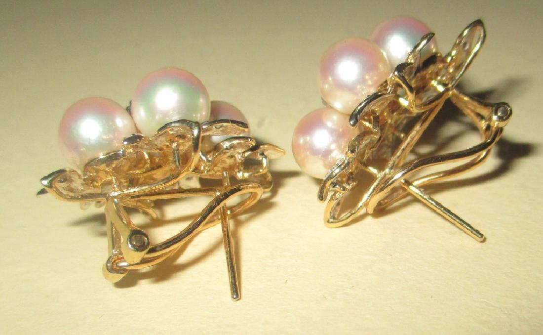 Pr. of Elegant 14K G. Earrings w/ Pearls& Diamonds - 2