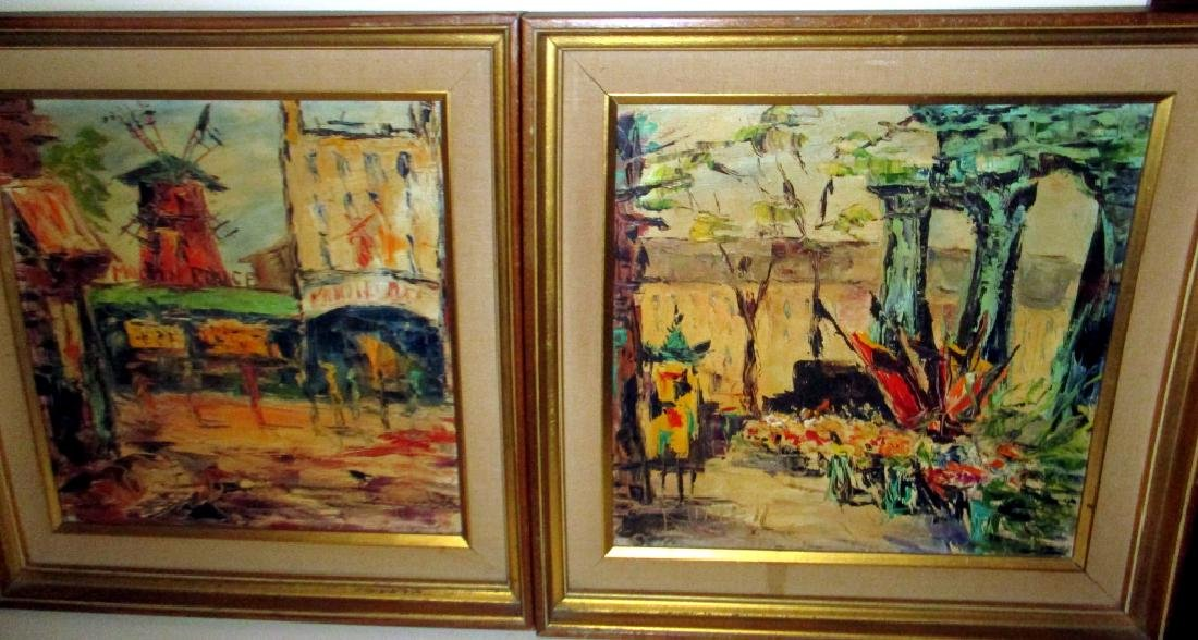 Pair of Mid Century French Oil Paintings by Ronet