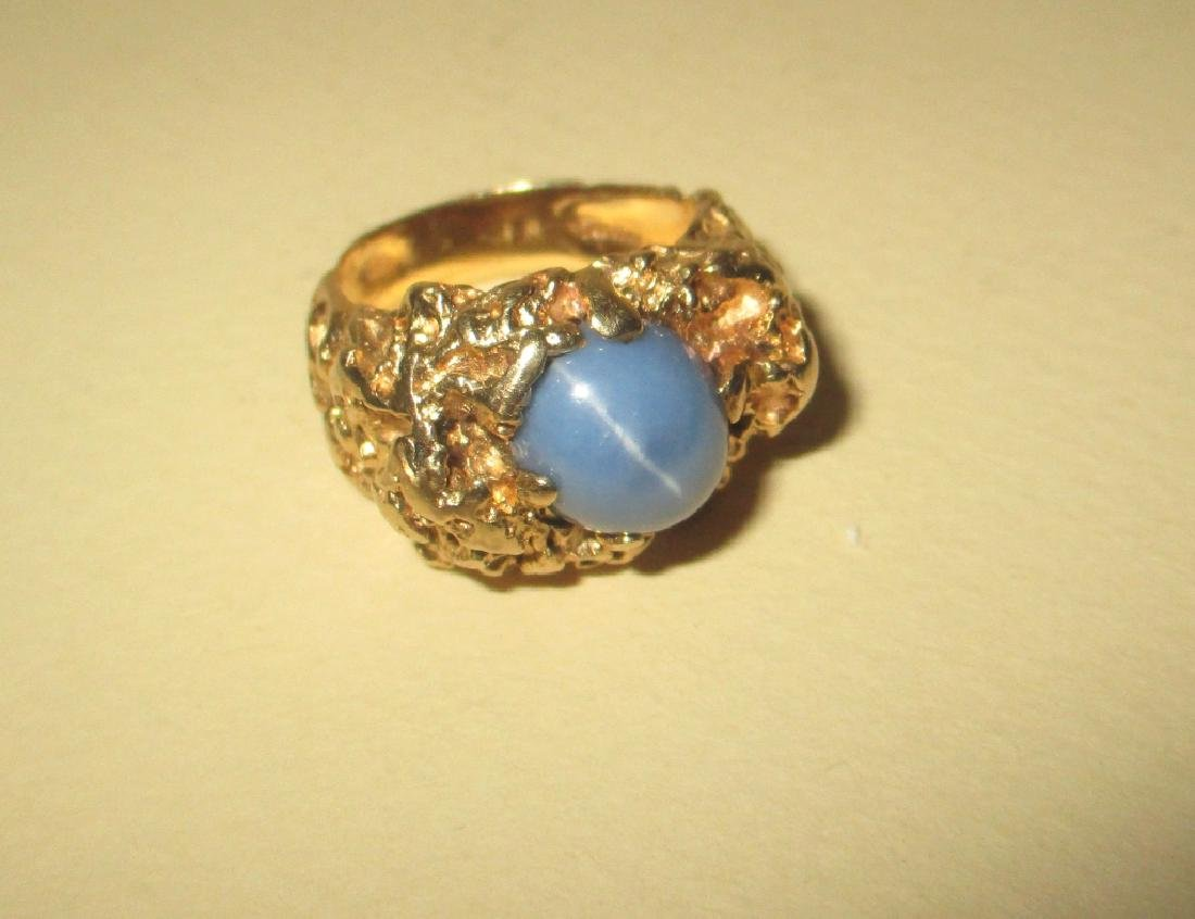 Man's 14k Gold Ring w/ Star Sapphire - 2