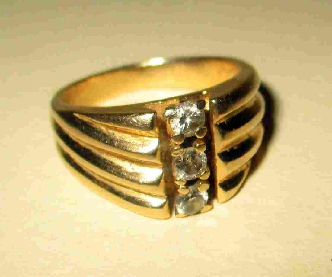 14K Yellow Gold Man's Ring Set w/ 3 Diamonds