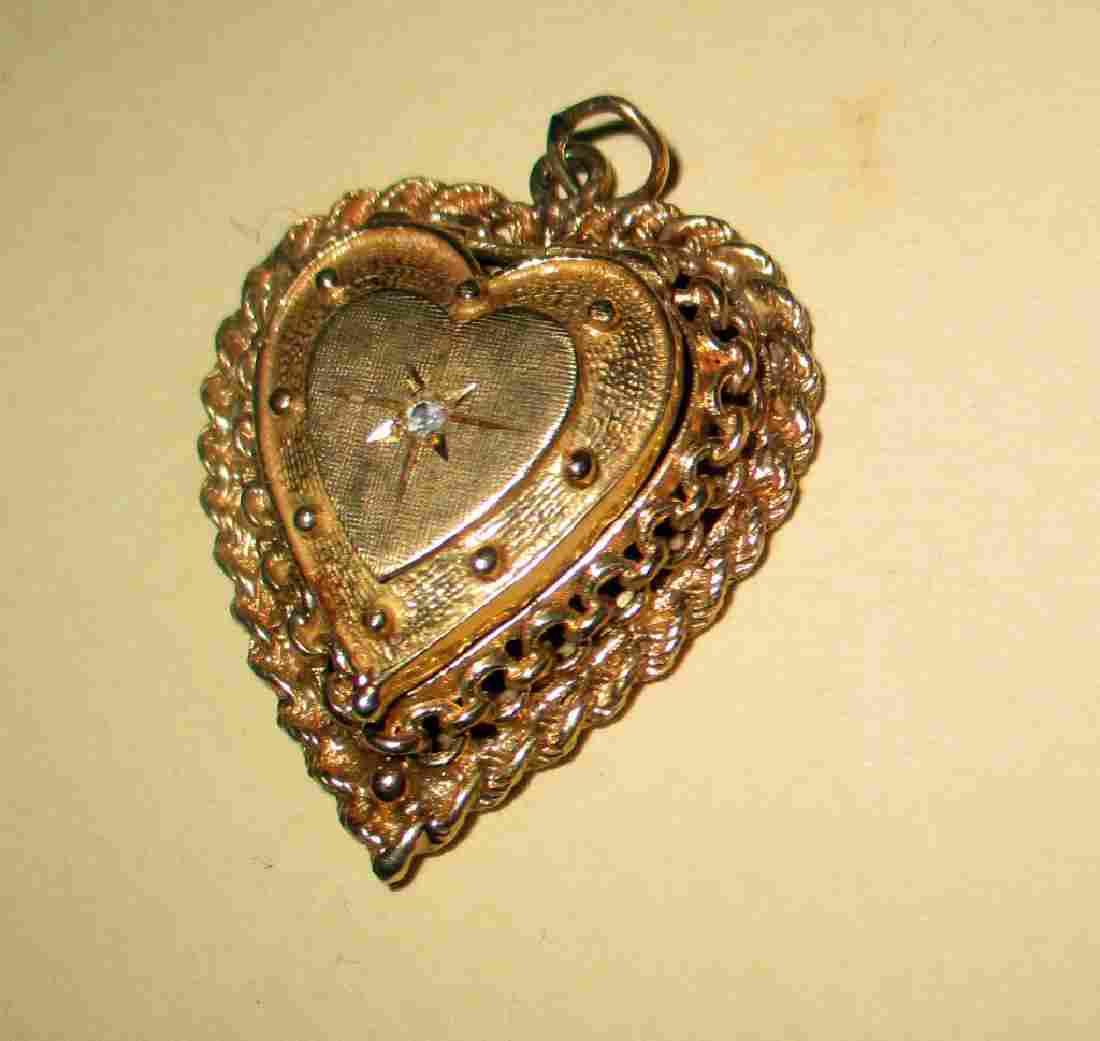 14 K Gold Heart Locket w/ Diamond