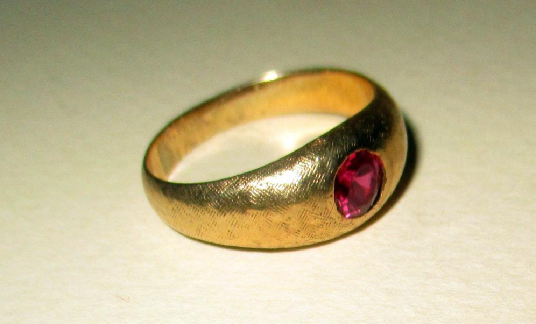 Man's 14K Yellow Gold Pinky Ring w/ Ruby