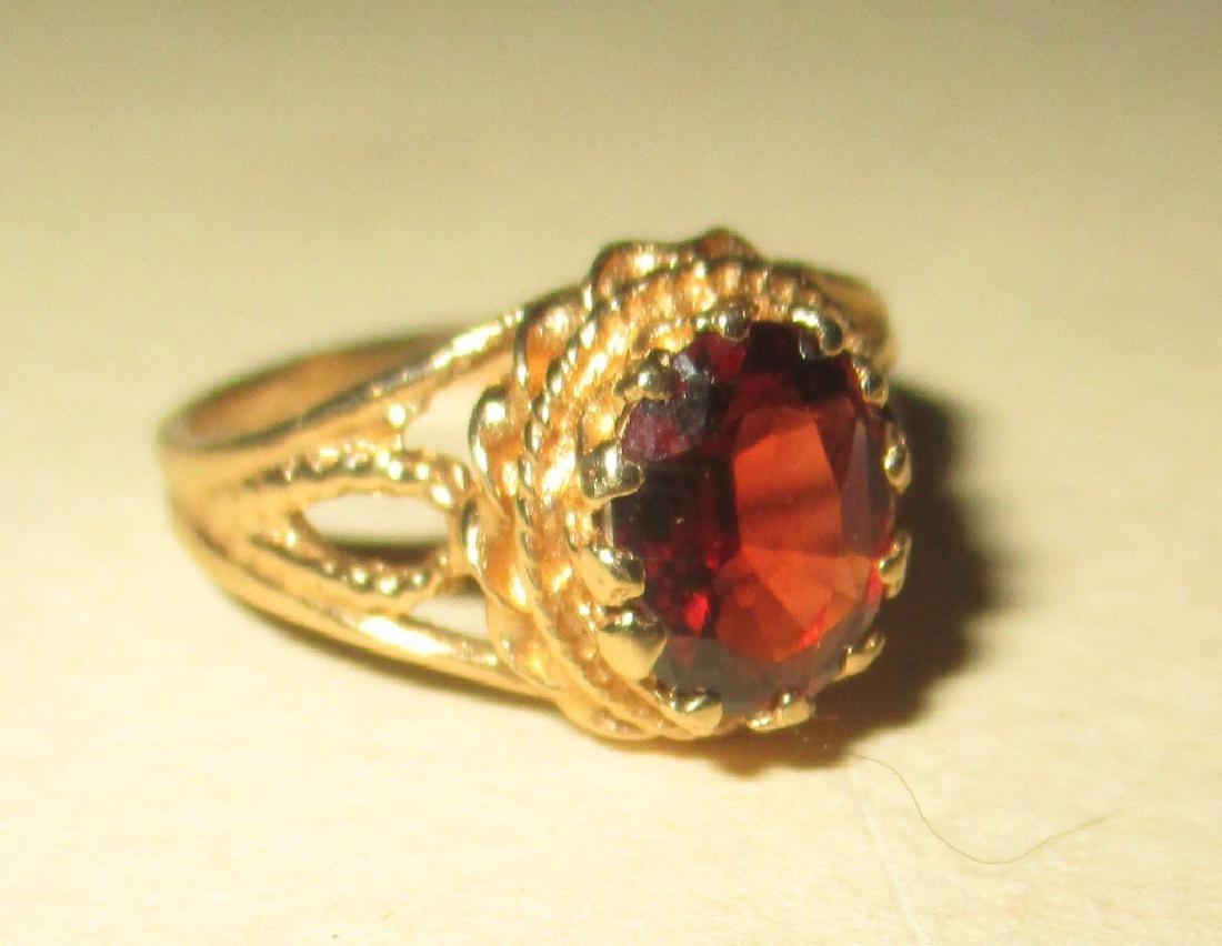 14K Yellow Gold Filagree Ring w/ Garnet
