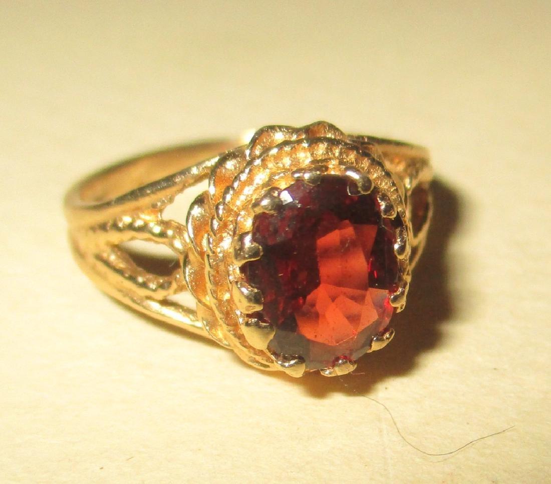 14K Yellow Gold Filagree Ring w/ Garnet - 2