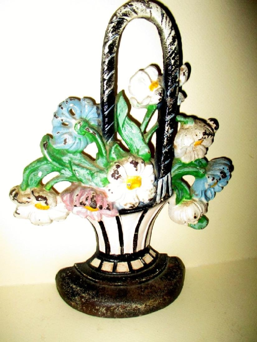 Antique Cast Iron Doorstop Basket of Flowers Form