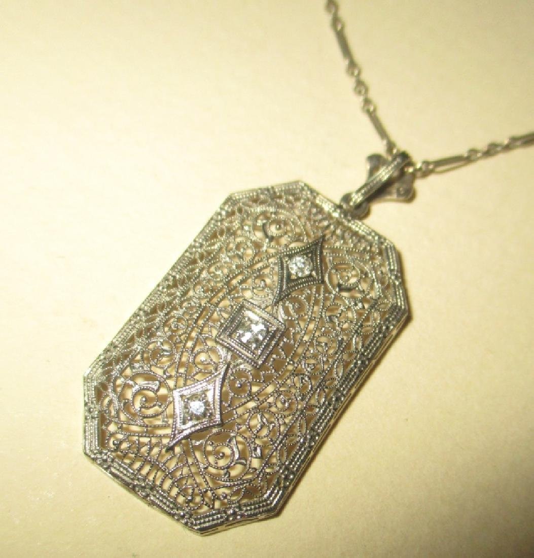 10k/14k Deco Filagree Pendant & Chain w/ Diamonds