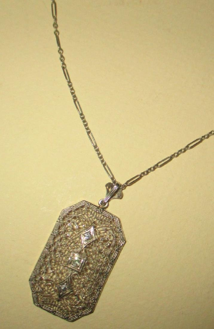 10k/14k Deco Filagree Pendant & Chain w/ Diamonds - 2