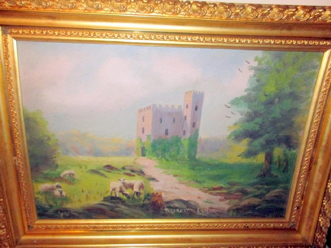 Primitive Pastoral Castle Oil Painting on Board