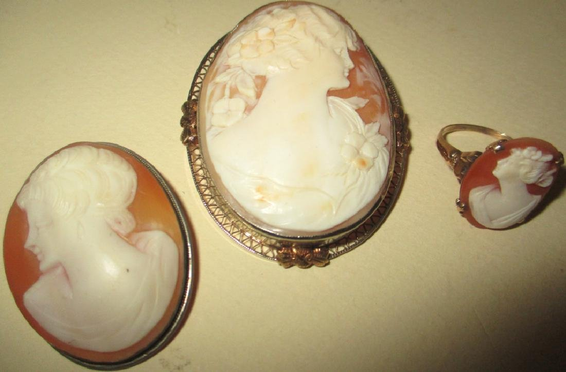 Three Pieces of Cameo Jewelry